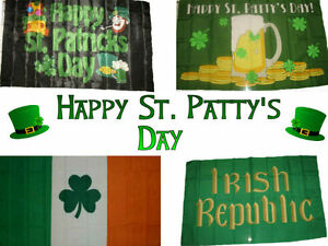 3x5 ft Wholesale Lot Happy St. Saint Pattys Patty's Patricks Day Flag Set 3'x5'