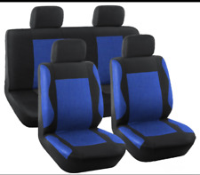 UNIVERSAL Blue/Black Fabric CAR Seat Covers 8PCS FULL SET - FRONT AND REAR CLOTH