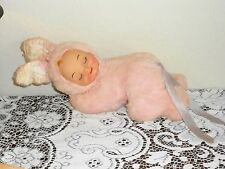 Vintage Pink Girl Bunny Doll Rubber Face Sweet