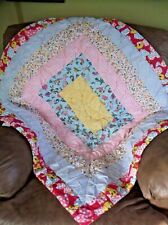 Vintage 70s Handmade Hand Quilted Double Sided Patchwork Baby Lap Quilt 38x44