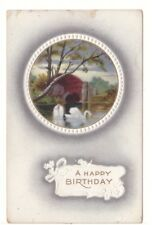 A Happy Birthday - Swans - Rural Scene - Vintage Embossed Postcard