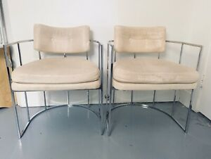 MILO BAUGHMAN vintage Pair Of Chrome Arm Chairs White Leather Thayer Coggin