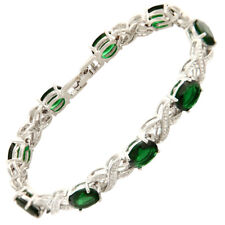 Xmas Jewelry Xmas Green Emerald White Gold Gp Tennis Bracelet Jewelry New