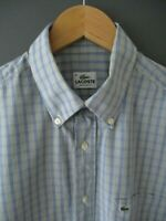 LACOSTE SHIRT (41-MEDIUM) BLUE/GREY CHECK COTTON SHORT-SLEEVE DEVANLAY - Excelle