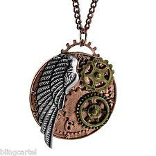 Steampunk Necklace Gears Angel Wing Clockwork Copper Tone Antique Style Pendant