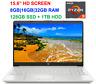 "2021 HP 15.6"" Screen AMD Ryzen 3 3250U, up to 3.5GHz,32GB RAM &128GB SSD+1TB HDD"
