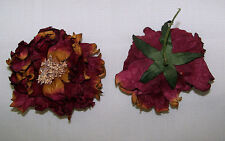 "2X  Yellow Orange Red  Dahlia Artificial Silk Flower 5""  Head Hair Clip Craft"