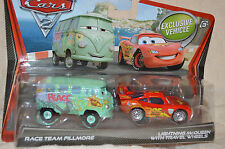"Disney Pixar CARS 2 "" RACE TEAM FILLMORE & LM With TRAVEL WHEELS ""  NIP"