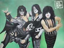 KISS - Hand OIL PAINTING canvas signed POP ART Gene Simmons Tommy Thayer band
