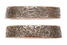 Antique Japanese Fuchi Gomoku Brass Sword Fitting Tsuka Handle Koshirae Samurai
