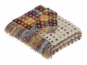 Rainbow Merino Lambswool Multi Spot Beige Throw Blanket