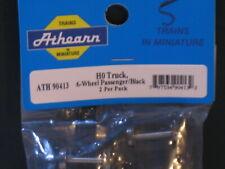 ATHEARN ATH 90413 HO TRUCK 6 WHEEL PASSENGER TRAINS BLACK 2 PER PACK NOS