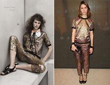 NWT MARNI H&M Metallic Gold & Purple Jacquard Floral trousers US 6 UK 10 EU 36