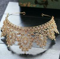 8cm High Luxury Adult Pageant Gold Crystal Wedding Bridal Party Prom Tiara Crown