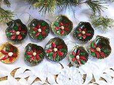 9 Vintage Scallop Seashell Ornaments Handmade Red/Green Flowers