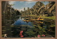 Travel Poster Thailand Asia Lillypad Woman Boat Palm Trees Fuku Color Glossy