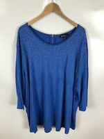 ULLA POPKEN Damen Shirt, Größe 54/56, blau+silber punkte, 3/4 Ärmel, schick