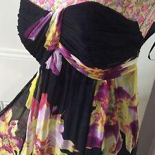 monsoon Captivia Floral Bandeau Silk dress size 12 Vgc Post Daily Hols 9/5
