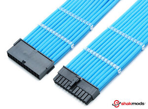 Shakmods 24pin ATX Motherboard 30cm Light Blue Sleeved Extension + 2 Cable Combs