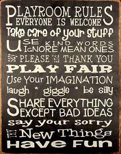 "TIN SIGN ""Playroom Rules "" Quotes  Art Deco Garage Wall Decor"