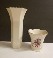 Lenox Christmas Porcelian Tea Votive Candle Holder/Vase Candy Cane 24K Gold Rim