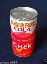CHEK SUGAR FREE COLA SODA CAN METAL 12 OZ VINTAGE ALUMINUM PULL TAB TOP 70's  BO