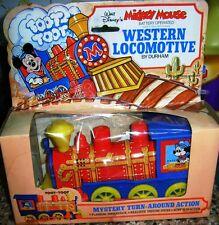 Vintage Disney Mickey Mouse Western Locomotive Tin Batt Op Toy Durham Hk Unused!