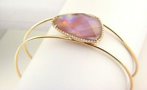 Violet Mother of Pearl & Diamond Cuff Bracelet  14k Rose Gold SI Creations