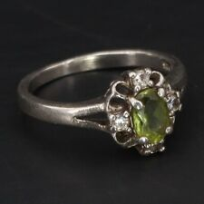 Scalloped Cocktail Ring Size 8 - 3g Sterling Silver - Peridot & Cubic Zirconia