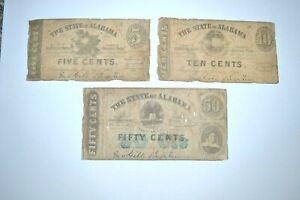 3 Original 1863 Alabama Fractional Confederate Currency Notes 5C, 10C & 50C