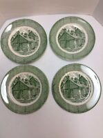 Old Curiosity Shop Dinner Plates Lot of 4 Green Royal China USA