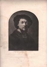XIXe rare eau-forte Rembrandt autoportrait gravure
