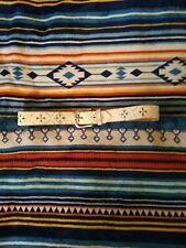Native American White Leather Belt Vintage