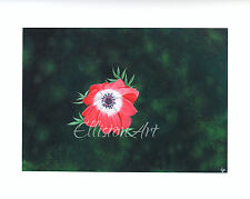 Original red Flower Floral Gouache Anemone De Caen blooming Painting green