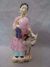 "Vintage Occupied Japan bird  instrument   Figurine    asian statue  8"" Tall"