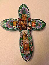Mexican Folk Art Hand Painted Religious Wood Wall Cross Decoupage Jesus Saint