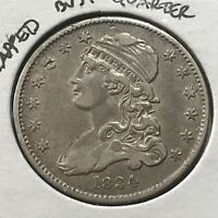 1834 CAPPED BUST SILVER QUARTER HIGH GRADE FROM OLD TYPE COIN COLLECTION