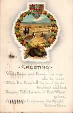 Vintage Canadian Patriotic Postcard, Beaver,Coats of Arms and farming scene. ct5