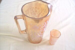 Jeanette Marigold Carnival Glass  Pitcher  & 1 Juice Glass  White Flowers Vtg