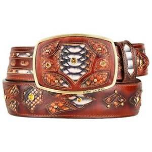 Original Cognac Python Skin Fashion Style Belt