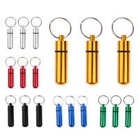 6pcs Pillen-Dose, Pillen-Box, Aluminium-Kapsel, Schlüssel-Anhänger mini,