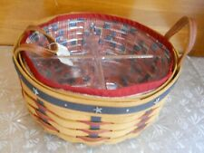 Nwt Longaberger Proudly American Darning Basket + 2 Liners + Divided Protector