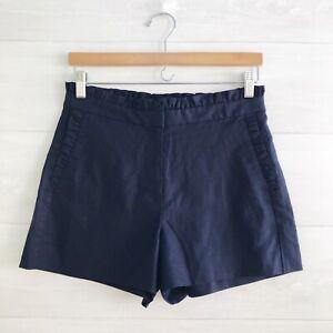 NWT J.Crew (or J.Crew Factory) - Navy blue linen blend ruffled shorts, sz 2