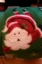SOFT PLUSH THROW GREEN WITH SANTAS SIZE 50 X 60 INCHES BY HOLIDAY TIME
