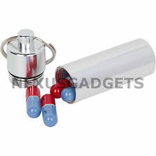 Medicine Pillbox Keychain Pill Box Case Holder Container Drug Medication Bottle