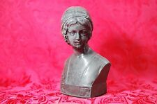 "Antique Black Basalt Female Bust Signed & Numbered 302 Statue 8"" Greek Roman"