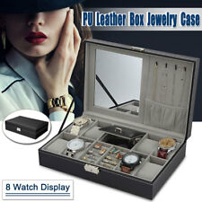 8 Grids Watch Box PU Leather Display Case Jewelry Collection Storage