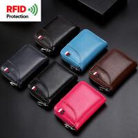 100% Genuine Leather RFID Blocking Zipper Wallet Credit Card Holder Coin Purse