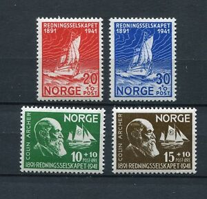 NORWAY DURING GERMAN OCCUPATION 1941 LIFEBOAT SOCIETY SCOTT B20-B23 PERFECT MNH