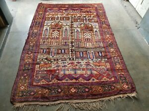 "handmade afghan beloch rug tribal 8'6""×5'7"" ft unique vintage war rug"
